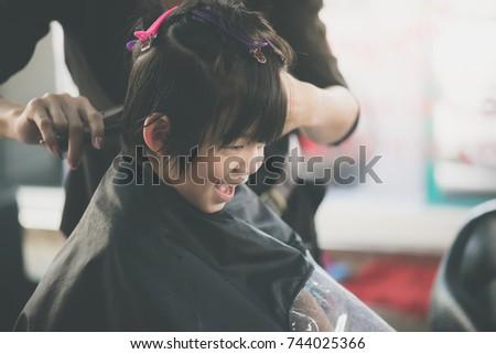 Cute Asian Boy Getting Haircut Hairdresser Stock Photo Edit Now