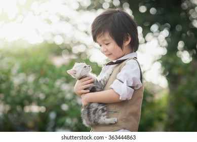 Cute Asian boy  hugging american short hair  kitten with sunshine in the park