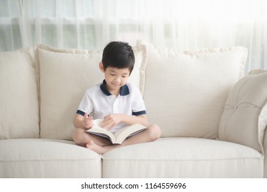 Cute Asian boy reading a book on a sofa in living room