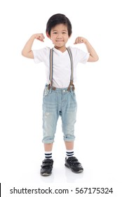 Cute Asian child showing his biceps on white background isolated