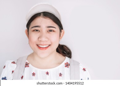 Cute Asian Fat Teen Girl Young smiling with healthy teeth