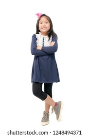 Cute Asian girl in beautiful blue dress isolated on white background, Happy and smaile kid concept
