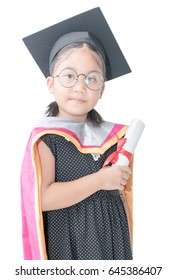 cute asian girl student in graduation cap with certificate isolated on white background. Education and people.