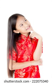 Cute Asian girl wearing red traditional Chinese suit thinking