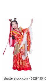Cute Asian Girl Wearing traditional Chinese wishing you a happy Chinese New Year.