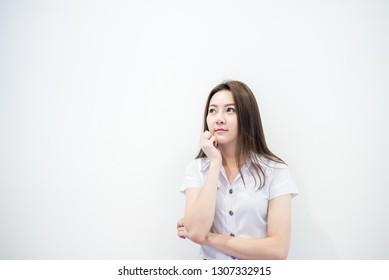 Cute asian lady thinking