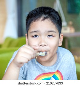 Cute Asian little boy enjoying food