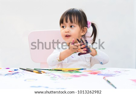 Cute Asian Little Girl Painting Color Stock Photo Edit Now