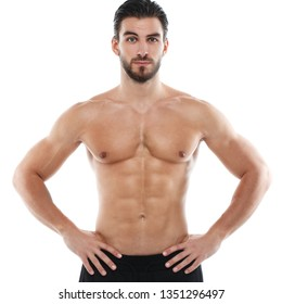 Cute athletic man with a naked torso isolated on white background.