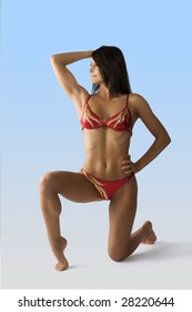 cute athletic young woman in swimwear taking body builder pose