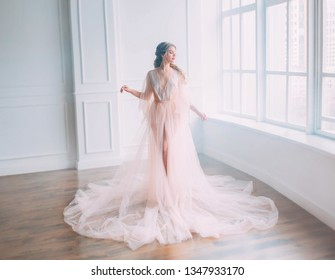 cute attractive princess with blond hair in pink light dress posing in sunlight of large window, sleeping beauty woke up, gentle lace peignoir and veil, lady in spacious bright room with white walls