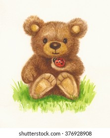 Cute baby bear holding ladybird, watercolor.
