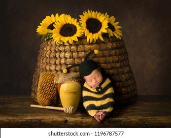 Cute baby in bee outfit sleeping against antique beehive