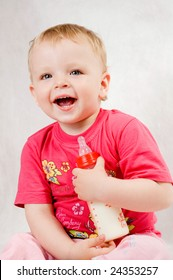 cute baby with bottle