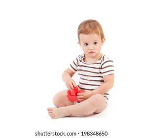 cute baby boy with color blocks on white background