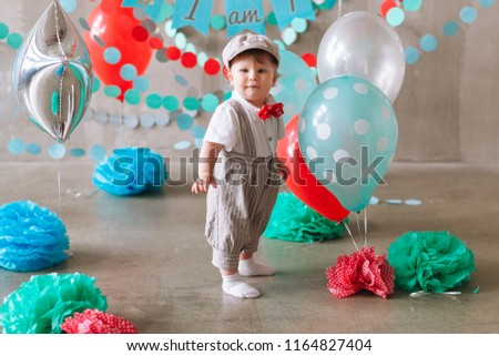 Cute Baby Boy First Birthday Party Decorated With Garland And Balloons Minimal Studio Photo