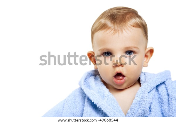Cute baby boy with funny expression over white