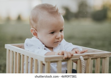 Cute baby boy and his toy playing in a wooden box making funny and happy faces warm summer sunset in the park