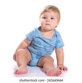 Cute baby boy isolated on white background