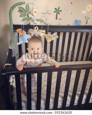 a0d5641d5 Cute Baby Boy Pajamas Standing Holding Stock Photo (Edit Now ...