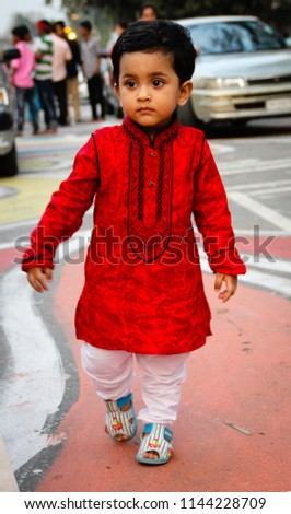 523f024f2944 Cute Baby Boy Red Dress Festival Stock Photo (Edit Now) 1144228709 ...