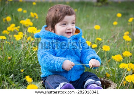 Cute Baby Boy Sit Flowers Field Stock Photo Edit Now 282018341