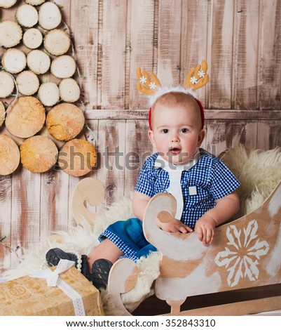 e2a4a448d4df Cute Baby Boy Sitting Sleigh Christmas Stock Photo (Edit Now ...
