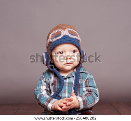 acad065a0 Cute Baby Boy Wearing Aviator Hat Stock Photo (Edit Now) 250480282 ...