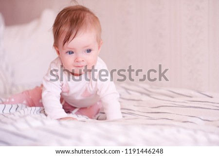 Cute Baby Crawling Bed Wearing Pajamas Stock Photo Edit Now