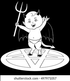 A cute baby devil stands in a pentagram throwing devil horns with one hand and holding up a pitchfork with the other.