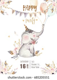 Cute baby elephant nursery animal isolated illustration for children. Bohemian watercolor boho forest elephant family drawing, watercolour image. Perfect for nursery posters, patterns. Birthday invite