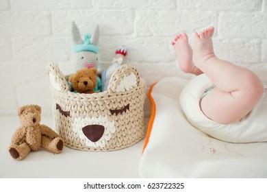 cute baby feet near