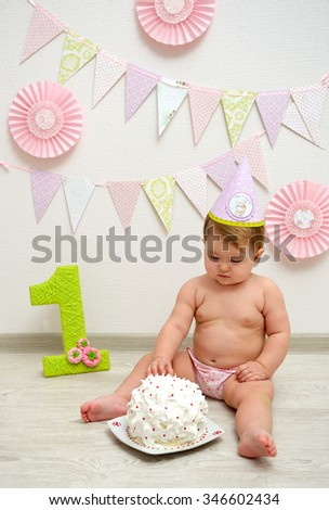 Cute Baby Girl Birthday Decorations On Stock Photo Edit Now