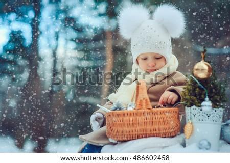 e852ef6f59d6 Cute Baby Girl Enjoying Christmas Day Stock Photo (Edit Now ...