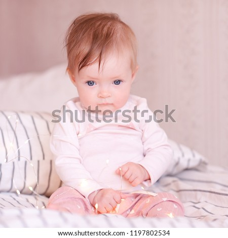 Cute Baby Girl Sitting Bed Wearing Stock Photo Edit Now 1197802534