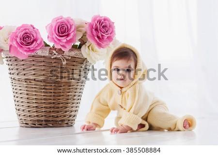 dfd272271 Cute Baby Girl Sitting Near Basket Stock Photo (Edit Now) 385508884 ...