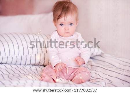 Cute Baby Girl Wake Bed Wearing Stock Photo Edit Now 1197802537