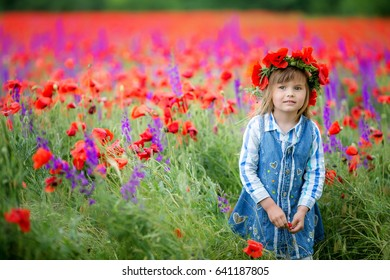 Cute Baby Girl Wreath Flowers Poppy Stock Photo Edit Now 641187868