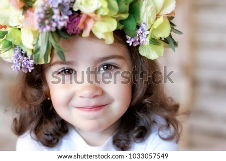 Cute Baby Girl Wreath Flowers Smiling Stock Photo Edit Now