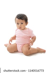 Cute baby girl w-sitting on white background