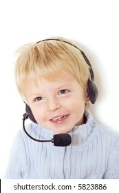 Cute baby with a headset
