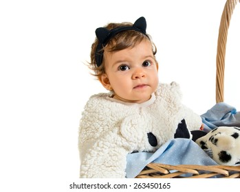 Cute baby inside basket with stuffed animals