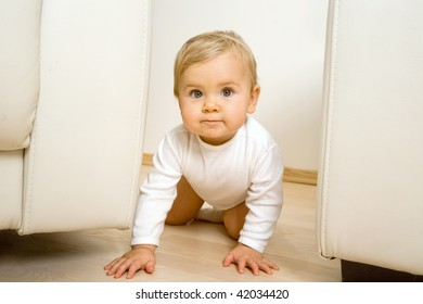 cute baby on the floor  in living room