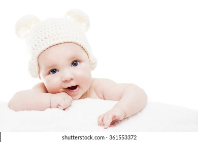 Cute baby on white background.Close up head shot of a caucasian baby boy,four months old baby looking at camera