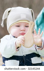 Cute baby outdoor with mirror