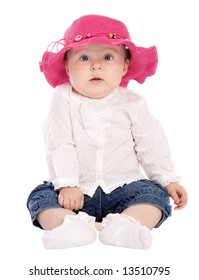 Cute baby with red hat looking to camera