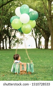 """Cute baby sitting in a wowen basket with balloons and a green ribbon banner that reads """"One"""". Whimsical hot air balloon flight in a beautiful forest clearing. First birthday photoshoot for a toddler."""