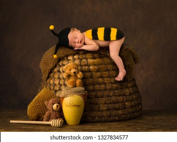 Cute baby sleeping in bee outfit on top of antique beehive