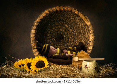 Cute baby sleeping in bee outfit in an antique beehive