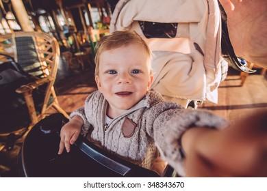 cute baby in stroller